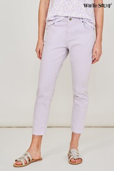 White Stuff Purple Straight Crop Jeans