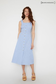 Warehouse Blue Chambray Midi Dress