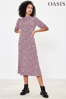 Oasis Purple Leopard Midi Dress
