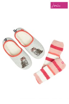 Joules Grey Slippers And Socks Gift Pack