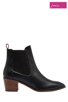 Joules Black Hartford Heeled Leather Chelsea Boots