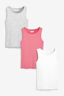 3 Pack Ribbed Pink Vests (3-16yrs)