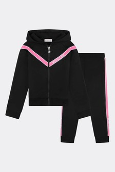 Girls Black Cotton Logo Tracksuit