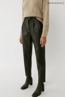 Warehouse Green Faux Leather Trousers