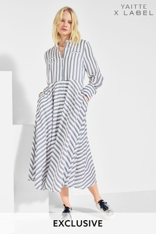 Mix/Yaitte Stripe Shirt Dress