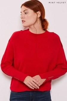 Mint Velvet Red Button Detail Batwing Knit Jumper