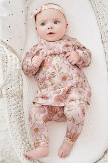 3 Piece Floral Tunic, Leggings And Headband Set (0mths-2yrs)