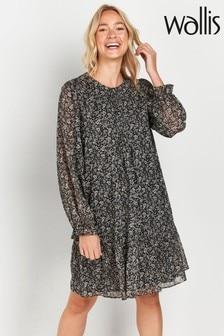 Wallis Tall Black Paisley Print Hanky Hem Dress