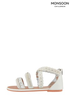 Monsoon Sicily Cross Strap Pearl Beaded Sandals