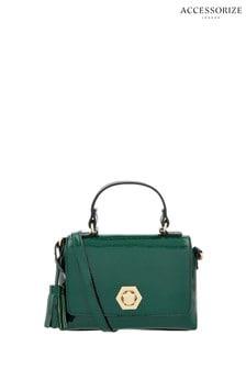 Accessorize Green Patent Handheld Bag
