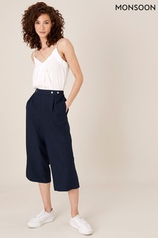 Monsoon Blue Linen Blend Cropped Trousers