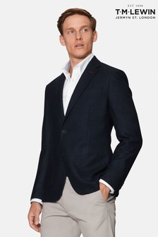 T.M. Lewin Forth Slim Fit Jacket In Navy Wool And Cashmere