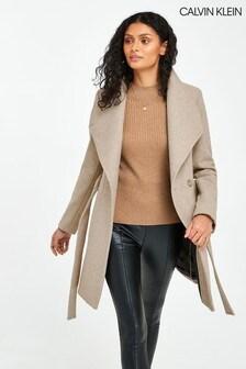 Calvin Klein Twill Belted Coat