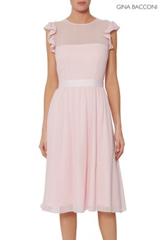Gina Bacconi Pink Pomona Fit And Flare Dress