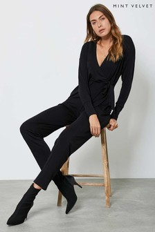 Mint Velvet Black Wrap Jersey Jumpsuit