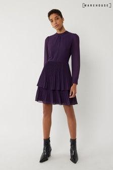 Warehouse Purple Micropleat Tiered Mini Dress