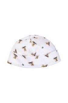 Baby Boys White/Navy Bear Hat