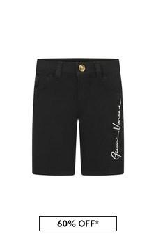 Versace Boys Black Cotton Shorts