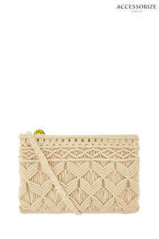 Accessorize Natural Macramé Cross Body Bag