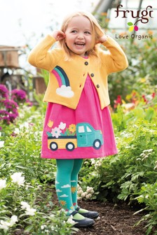 Frugi Organic Pink Cord Dress With Flower Truck Appliqué
