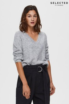 Selected Femme Lulu Supersoft V-Neck Jumper