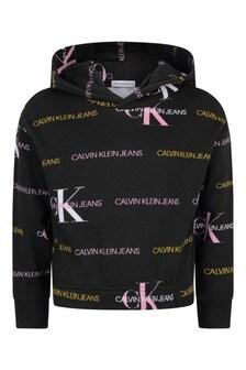 Calvin Klein Jeans Black Cotton Logo Hoodie