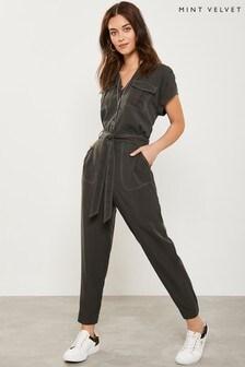 Mint Velvet Khaki Contrast Stitch Pant