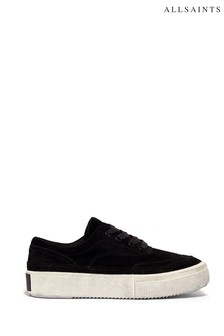 AllSaints Black Mercia Low Top Lace Up Silky Suede Trainers
