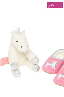 Joules Pink Slippers And Soft Toy Gift Set