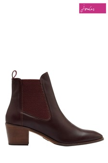 Joules Red Hartford Heeled Leather Chelsea Boots