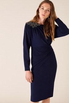 Monsoon Blue Danielle Beaded Shoulder Jersey Dress