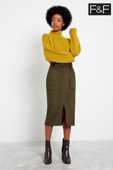 F&F Khaki Suede Belted Midi Skirt