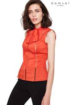Damsel In A Dress Orange Caydence Broderie Blouse