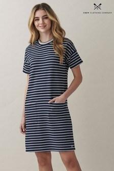 Crew Clothing Company Blue Alba Breton Pocketed Dress