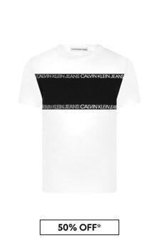 Calvin Klein Jeans Boys White Cotton T-Shirt