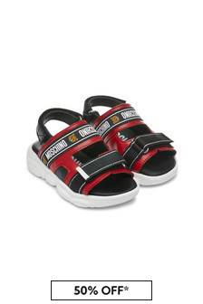 Moschino Kids Boys Red Leather Sandals