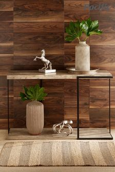 Pacific Concrete Effect MDF And Black Iron Console Table