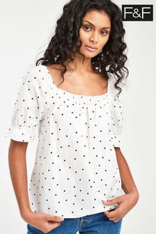 F&F White Sheered Bardot Spot Cotton T-Shirt