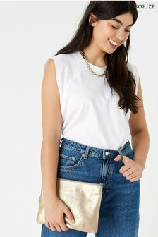 Accessorize Gold Claudia Leather Cross Body Bag
