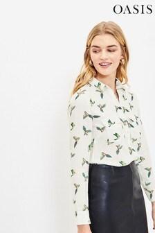 Oasis Natural Bird Print Shirt