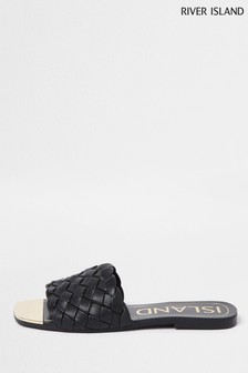 River Island Black Woven Vamp Flat Sandals