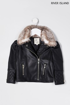 River Island Black Puff Sleeve Faux Fur Biker Jacket