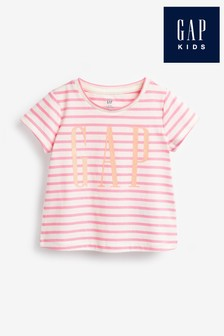 Gap Pink Stripe Graphic T-Shirt