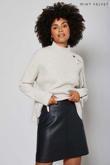 Mint Velvet Black Leather Mini Skirt