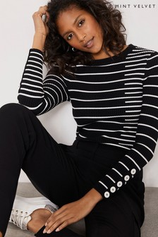 Mint Velvet Black Cutabout Stripe Jumper