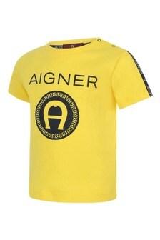 Baby Boys Yellow Cotton Logo T-Shirt