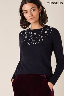 Monsoon Blue Crystal Yoke Embroidered Jumper