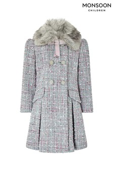 Monsoon Children Grey Tabitha Tweed Coat