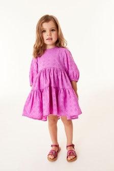 Cotton Tiered Broderie Dress (3mths-7yrs)