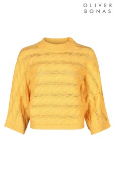 Oliver Bonas Cable Stitch Yellow Knitted Jumper